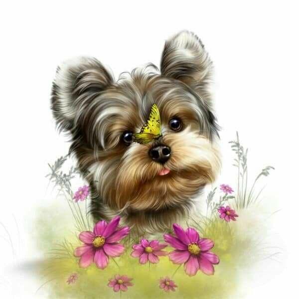 Pin By Karen Dibella On Cups Cute Animal Illustration Yorkie Cartoon Dog