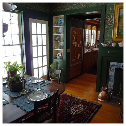 Dining room with forest green trim and William Morris 'Blackthorn' wallpaper -- Vermont Vernacular