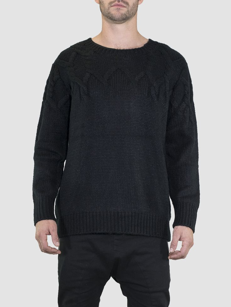 Faded Knit Jumper Black #mensjumper #mensknitwear