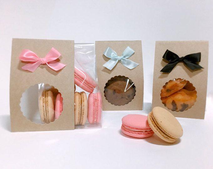 Insiemi di imballaggio del regalo di kraft nastro 10, cookie regalo, macaron imballaggio, imballaggio biscotto, confezionamento caramelle, simpatico regalo, regalo Kraft, borse di cookie, regali