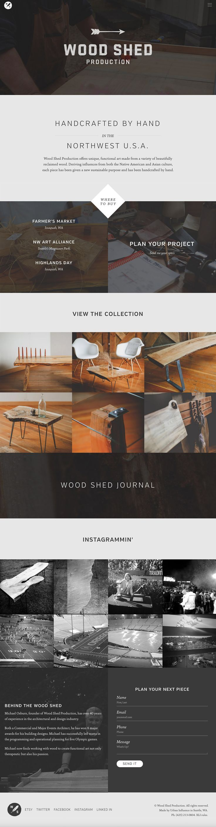 Responsive one pager integrated into wordpress that showcases the beautiful custom furniture by wood shed