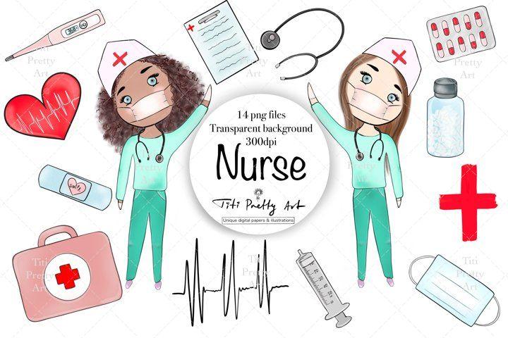 Nurse care clip art medical illustrations stay safe