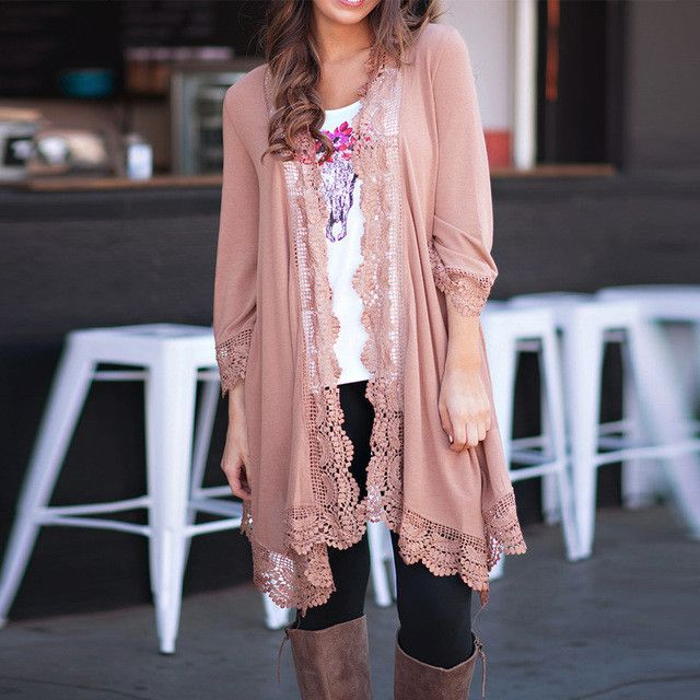 Elegant Splice Lace Long Kimono Cardigan with 3/4 Sleeve
