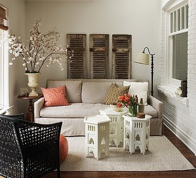 charming tiny living room. with different accent colors.