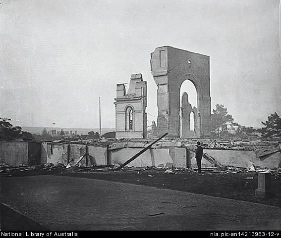 Garden Palace,Sydney International Exhibition Building in ruins after the fire.Photo from National Library of Australia.A♥W