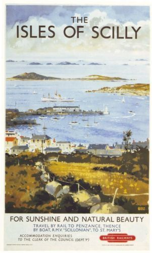 'THE ISLES OF SCILLY - FOR SUNSHINE AND NATURAL BEAUTY' (1950s) | British Railways: Travel poster ✫ღ⊰n