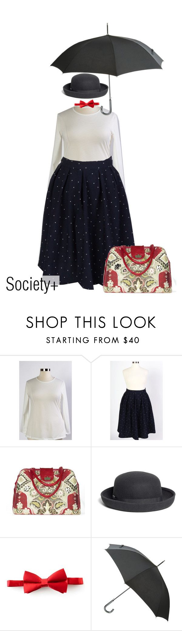 """Plus Size Mary Poppins Costume - Society+"" by iamsocietyplus on Polyvore featuring Brooks Brothers, Michelsons, Kenzo, Halloween, Costume, plussize, societyplus and iamsocietyplus"