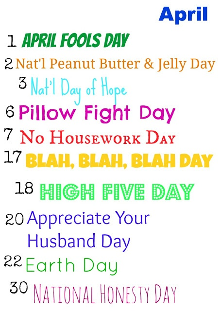 April Calendar National Days : Best ideas about national holiday calendar on
