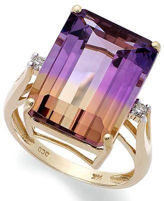 14k gold ring ametrine 10 ct tw and diamond accent emerald - Purple Diamond Wedding Ring