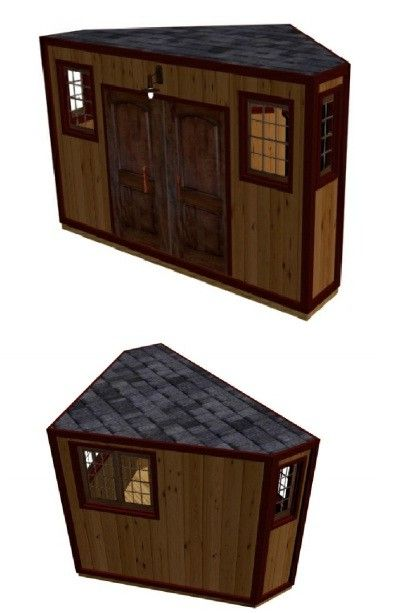 Cozy Corner Shed Plan - could sub for a big dog house / shelter if you added fencing, chew deterrent materials and dog door - 1 door and less some of the windows..