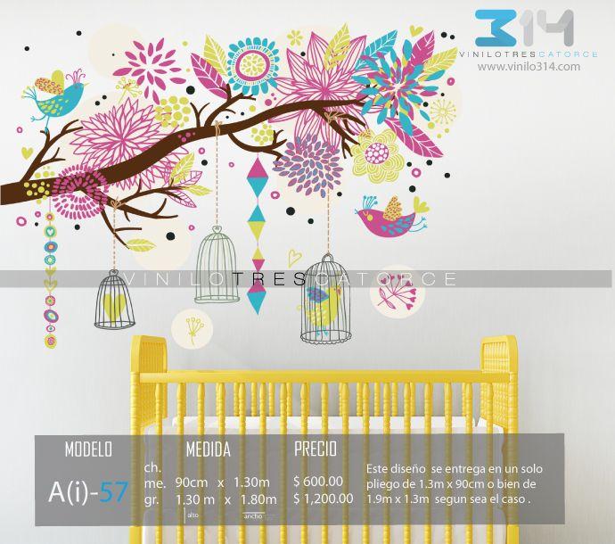 vinilos decorativos rboles infantiles sticker decorativo rama colores flores pjaros jaulas