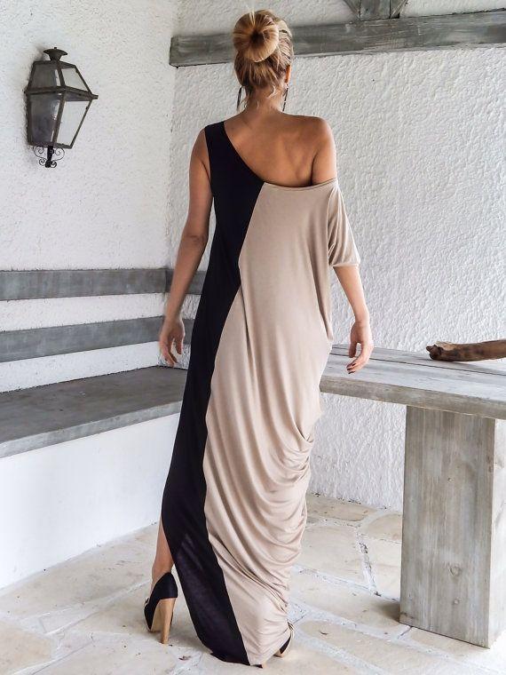Black Beige Maxi Dress / Black & Beige Kaftan / от SynthiaCouture