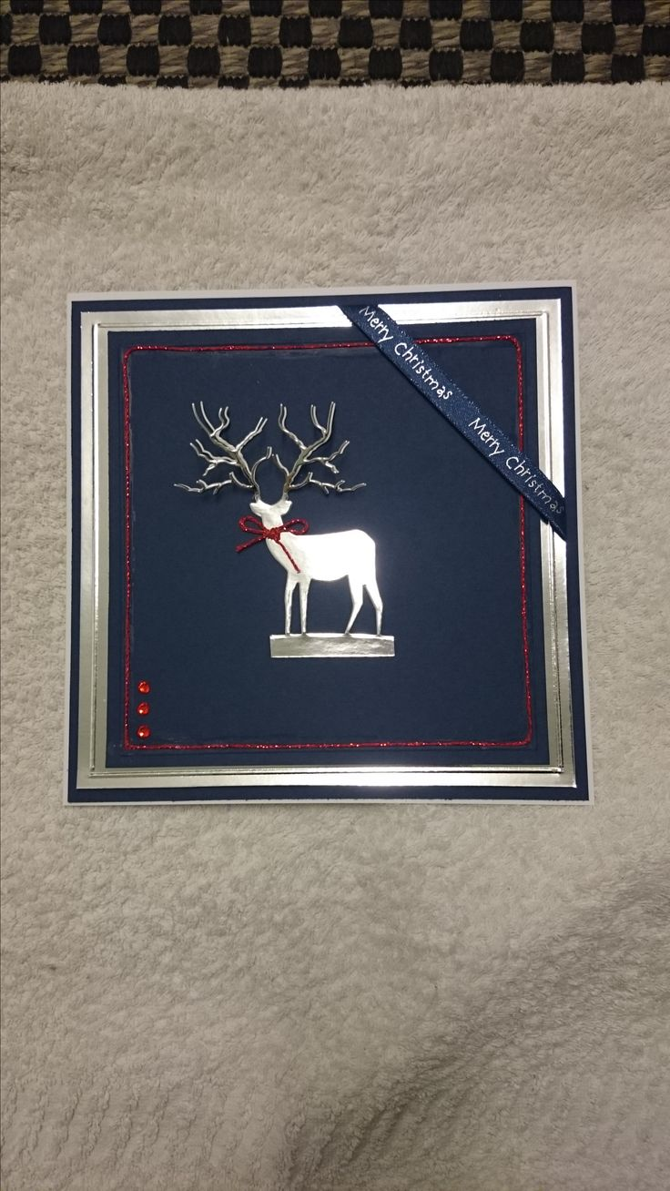 Navy & Silver 3D deer Christmas card with red embellishments