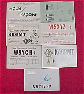 Lot of 7 ARRL Amateur CB Radio Club QSL Postcards QST.  Seven collectible Amateur Citizens Band Radio Club exchange or trade cards from the early 1980s.