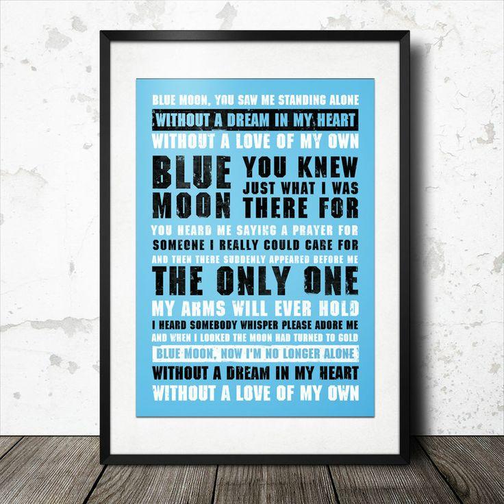 manchester city football song lyrics poster blue moon manchester pinterest football blue. Black Bedroom Furniture Sets. Home Design Ideas
