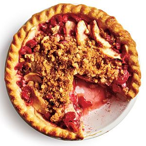 Rhubarb-Apple Pie from Cooking Light Magazine...  Rhubarb is in season right now!
