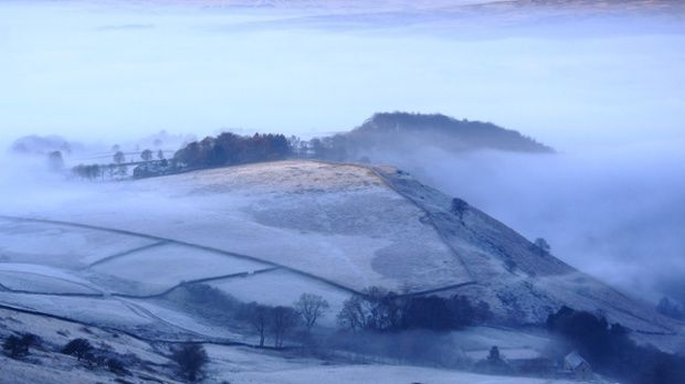 Frost on moorland above the Hope Valley near Hathersage.