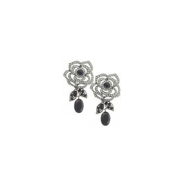 Butler & Wilson Beautiful Crystal Rose Drop Earrings (700 ARS) ❤ liked on Polyvore featuring jewelry, earrings, black, butler wilson jewelry, crystal jewellery, crystal earrings, crystal jewelry and rose earrings