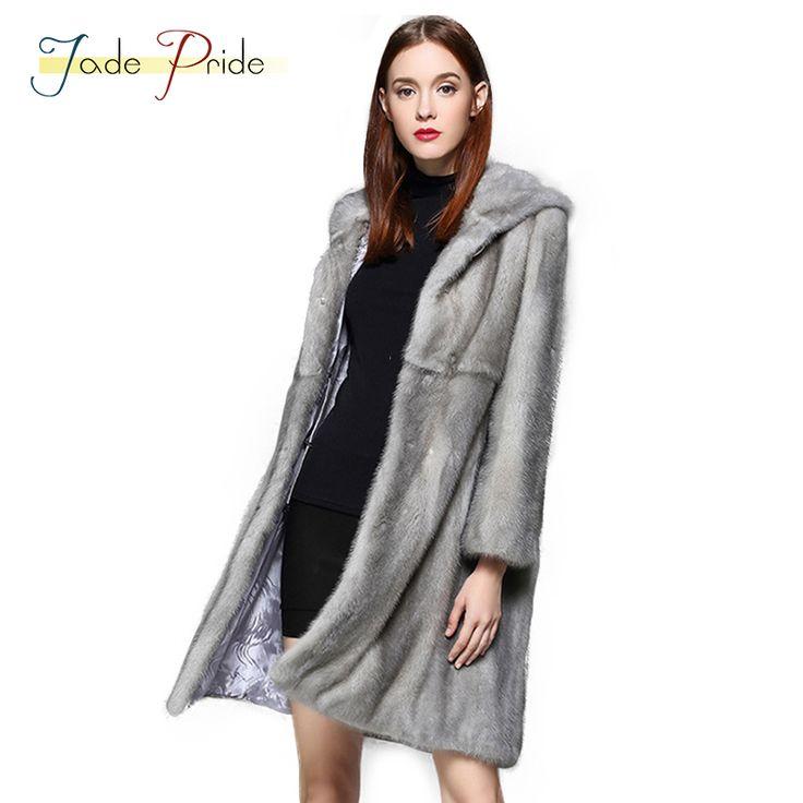 Jade Pride 2017 High-end Winter Warm Mink <font><b>Hoodies</b></font> Long Sleeve Real Furs Mink Coats Medium Gray Fashion Charming Women Mink Fur