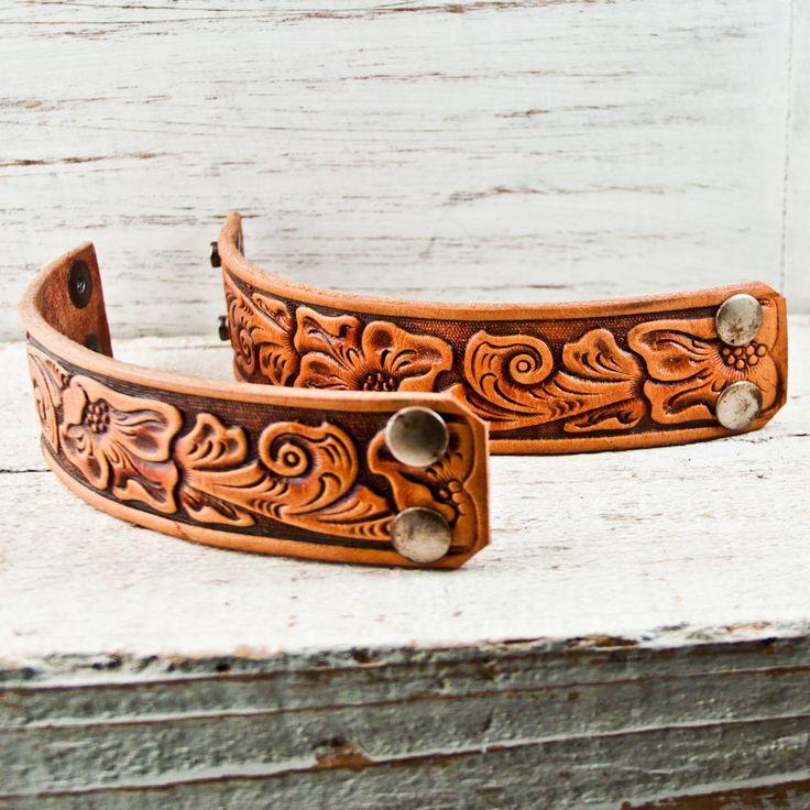 Tooled Leather Cuff Western Jewelry by Rainwheel