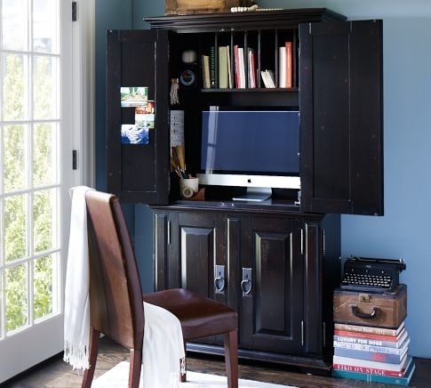 Family Room: Custom Closed Cabinet Dimensions And Interiors   Model After  Campton Smart Technology™ Office Armoire Desa Mocha, From Pottery Barn  Master Move ...