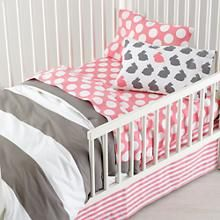Girls Bedding: Grey Pink Toddler Bedding in Toddler Bedding | The Land of Nod