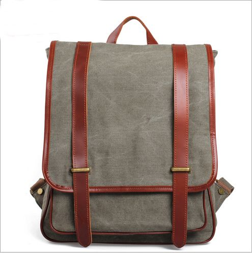 Genuine Cow Leather Canvas Bag, BACKPACK, Briefcase, Leather Messenger Bag, 15' 17' Laptop Bag, Men's Leather Canvas Bag (6381-2)