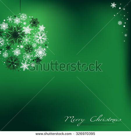 Christmas green background with bubble, bulb, and with snowflakes. - stock vector