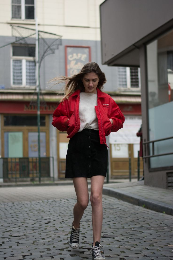 outfit vintage suede skirt black bomber jacket red converse high black sweater cool casual street style brussels ootd 90s