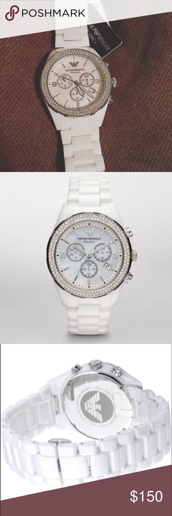"🎉SALE🎉 Ceramic Armani Watch Women's white ceramic Emporio Armani watch. Has two rows of Swarovski crystals around the bezel, mother of pearl face, and chronograph feature. Watch is NEW with defects. Never warn, new with tags! However, the chronograph (stopwatch function) resets to the ""10"" hand instead of ""12"" hand. Battery works, everything is in excellent condition! Original AR box not included. Authentic. No trades! Emporio Armani Accessories Watches"