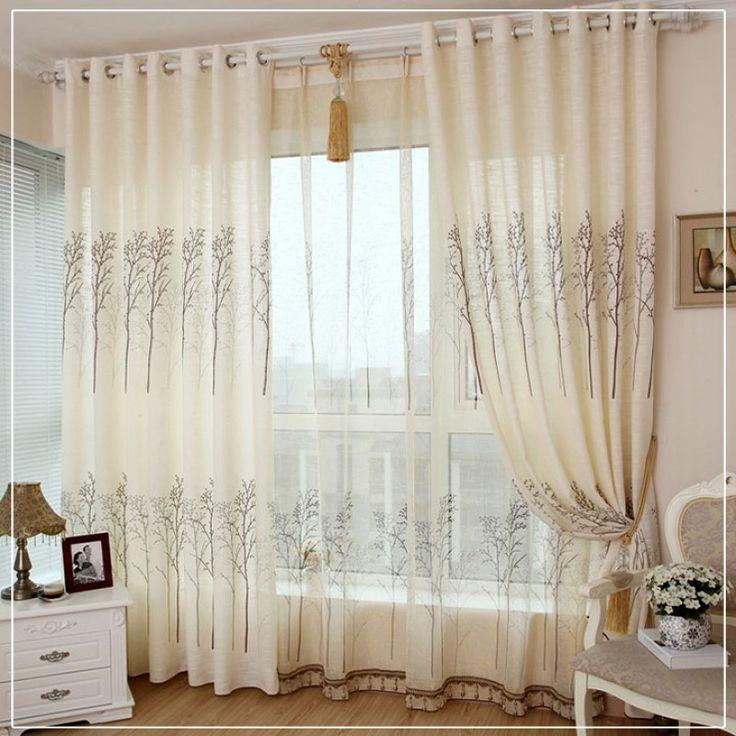 IKEA style Charming Trees Flax Curtain