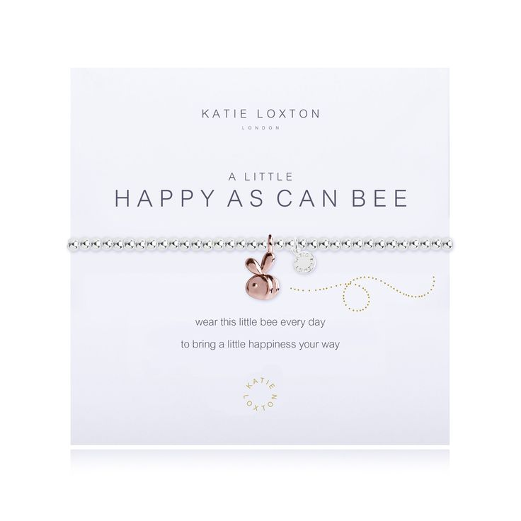 "Katie Loxton - A Little Happy As Can Bee - Rose Gold Bee Charm - Bracelet. ""Wear this little bee every day to bring a little happiness your way"" All Katie Loxton is silver plated 3 times, Strung with Silk and is always made with real crystals,stones or pearls. Each piece of Katie Loxton is carefully hand wrapped in a Beautiful Joma Gift Bag and tied with a silk bow."