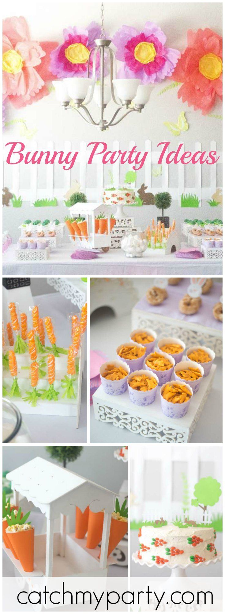 How cute is this bunny birthday for a little girl's party?! See more party ideas at Catchmyparty.com!