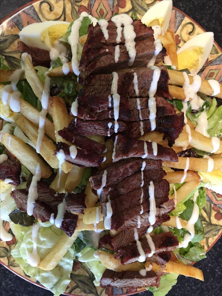 """Pittsburgh Style"" Steak Salad w/ Fries"