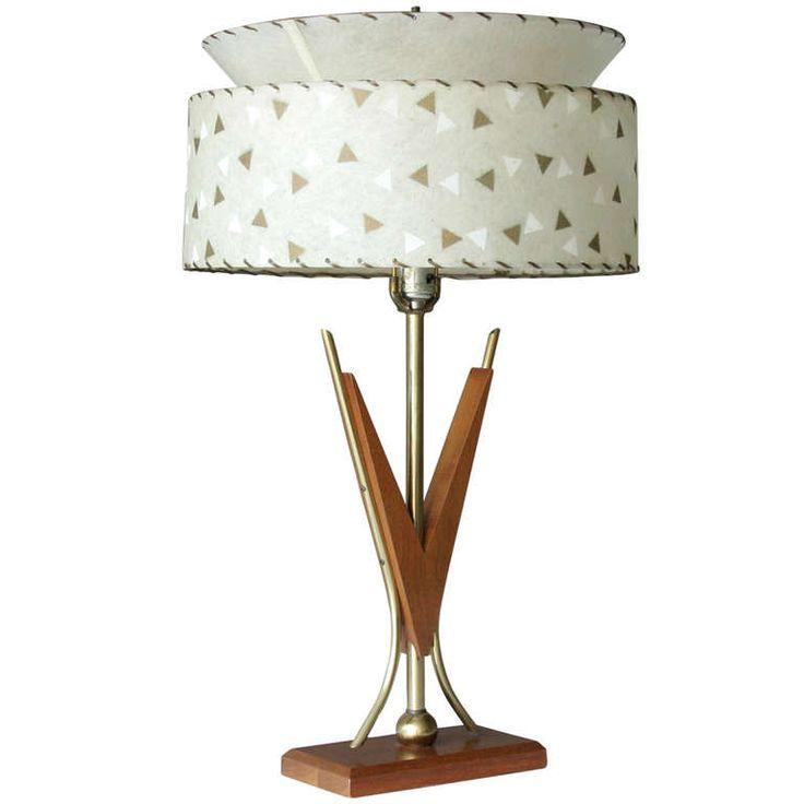 mid century american teak lamp 1stdibscom