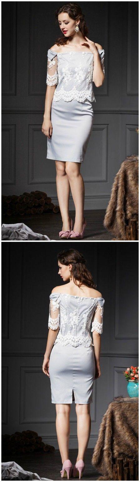 Elegant Grey Sheath Off-the-shoulder Lace Wedding Guest Dress