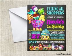 Shopkins birthday party invitation chalkboard