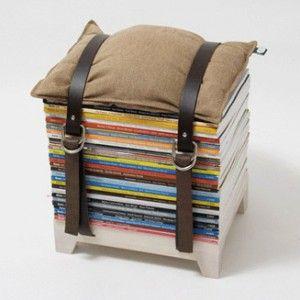 sitzhocker aus zeitschriften diy pinterest selber machen. Black Bedroom Furniture Sets. Home Design Ideas