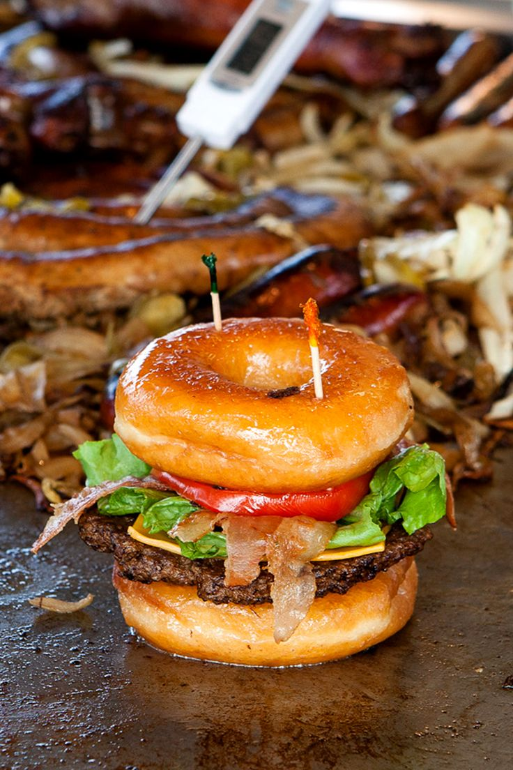 Also known as the Luther Burger, this meal combines savory and sweet by sandwiching a classic patty and all the fixin's with two Krispy Kreme glazed doughnuts. - Delish.com