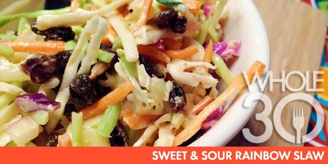 #Whole30 compliant Sweet & Sour Rainbow Slaw
