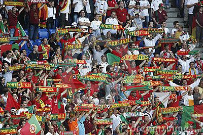 Euro 2012 first Semifinal (Spain- Portugal)- © fstockfoto | Dreamstime.com- Portugal supporters show their colors prior to the kick off of a UEFA Euro 2008 quarterfinal match between Portugal and Germany at St. Jakob Park June 19, 2008 in Basel, Switzerland.