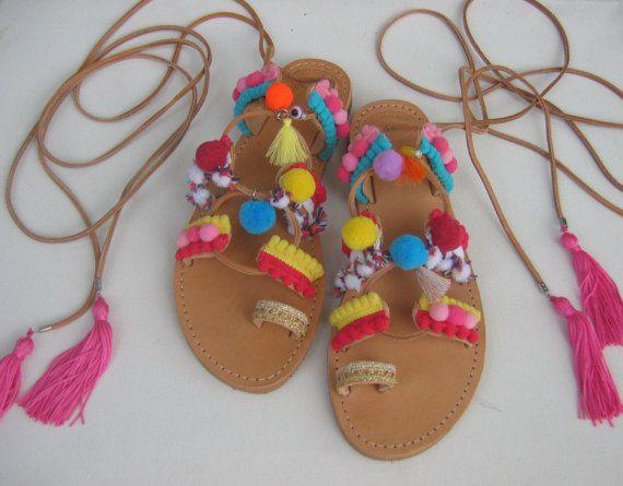 Tie Up Gladiator SandalsErofiliGreek Leather