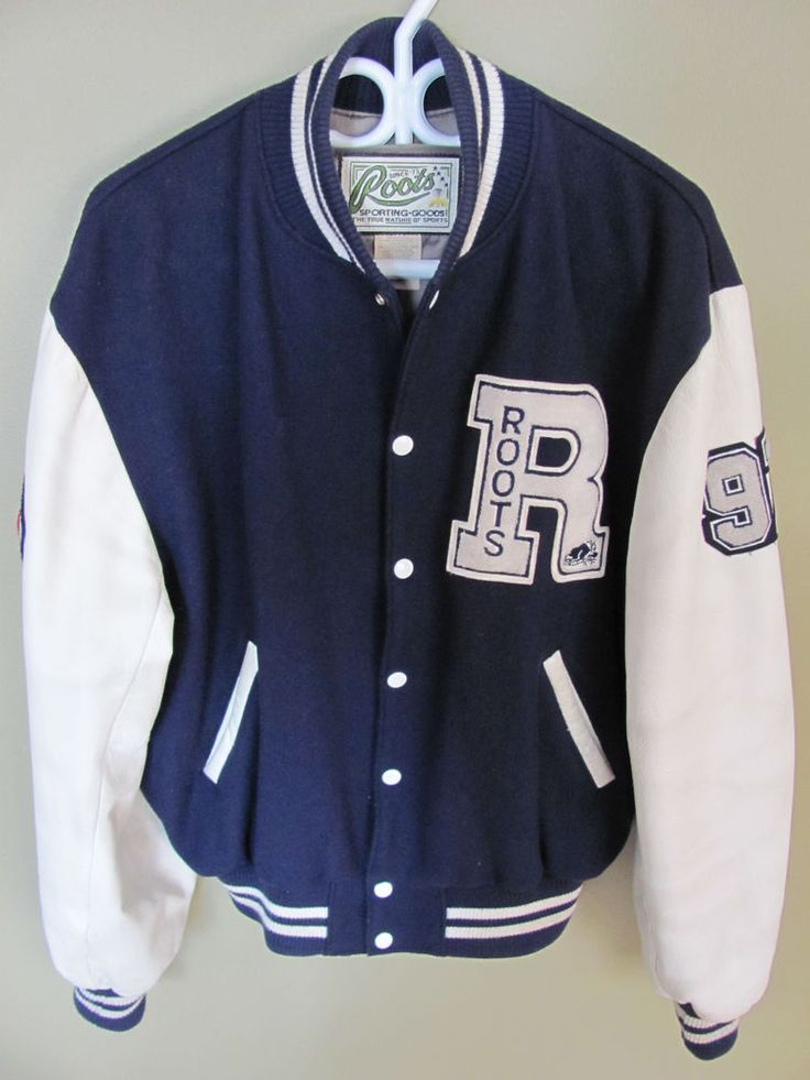 VINTAGE ROOTS CANADA LEATHER WOOL VARSITY LETTERMAN BASEBALL JACKET MENu0026#39;S XL #RootsCanada # ...