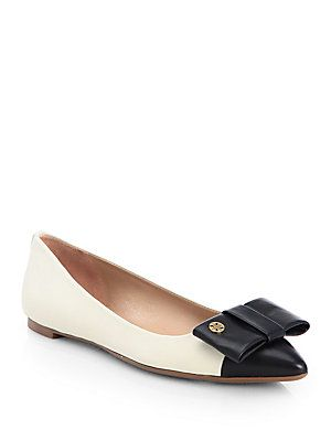 Tory Burch Aimee Bicolor Leather Bow Point-Toe Flats