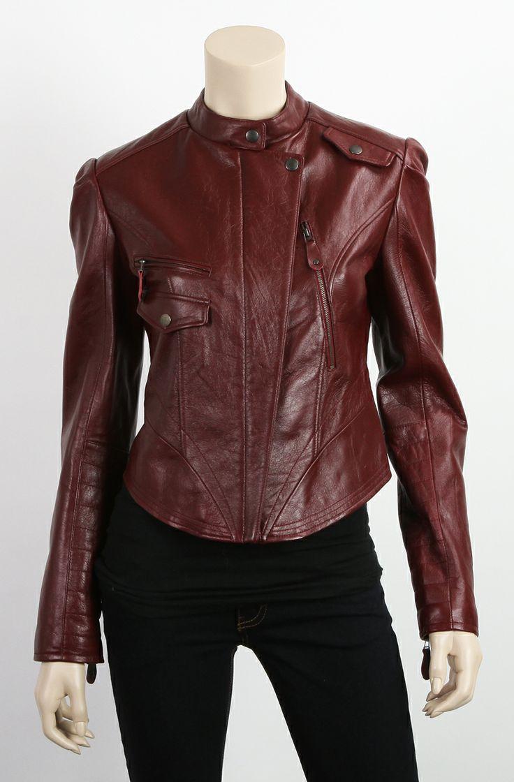 Leather jacket sale womens - Final Sale Womens New Vintage Burgundy Biker Moto Leather Jacket Size Xs