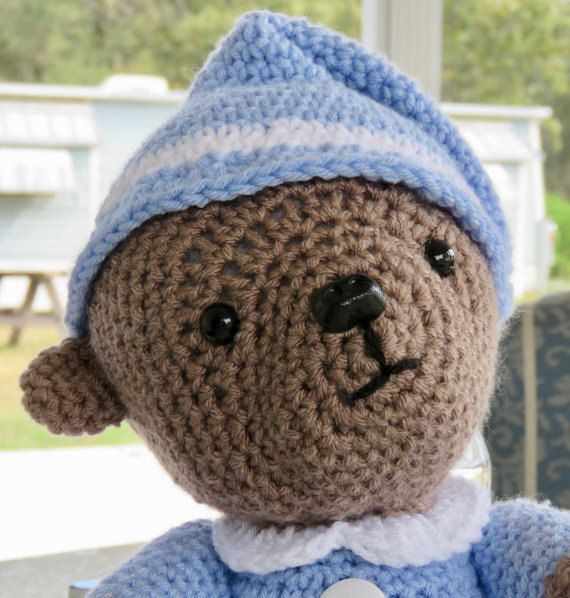 Teddy Bear with Blue Pyjamas night hat and by TheBabyCrowTwo