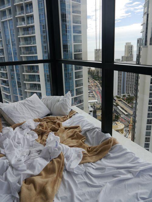 grafika bed, city, and view