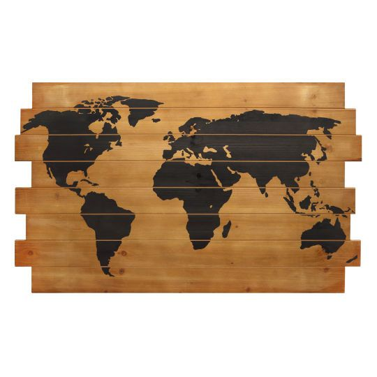 this striking map of the world is made out of uneven fir wood planks it makes a handsome w. Black Bedroom Furniture Sets. Home Design Ideas