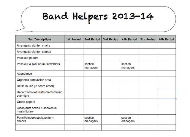 Utilizing student helpers & parent volunteers to help with school band program