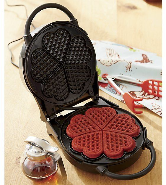Red Velvet Waffles.  CucinaPro Heart Shaped Waffle Maker